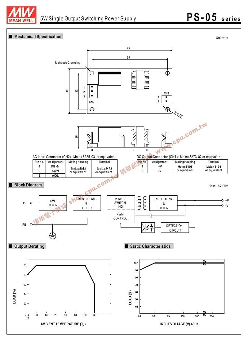 ps-05-15 5.25w 15v 0.35a pcb电源供应器(ac85~264v)
